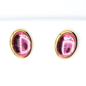 Vintage Trifari Gold Tone Pink Stone Post Earrings